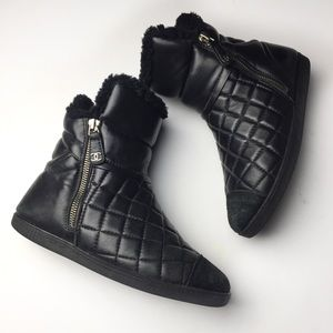 Chanel Black Quilted Leather/Suede Ankle Boots